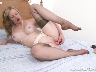Blonde Milf Holly Kiss takes off panties heels to fuck dildo in stockings