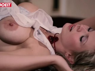 LETSDOEIT – Busty Hot Blonde Takes A Big Cock By The Fireplace