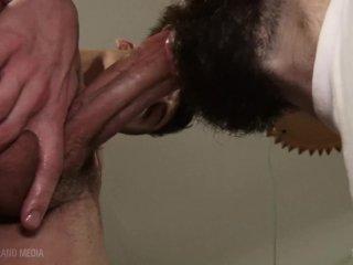 shaved headboy sucks some mean cock