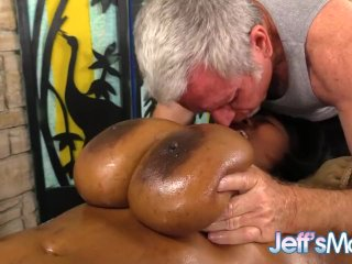 Ebony Plumper Marie Leone Has Her Huge Tits Worshiped in a Sizzling Rubdown