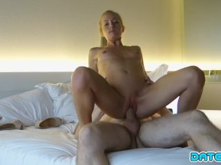 Date Slam – Young blonde babe gets older cock on 1st date – Part 1