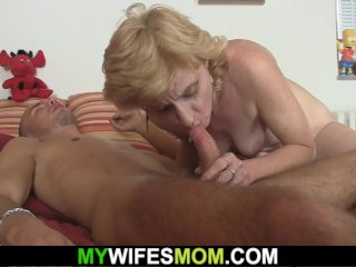 Slim blonde mother in law rides his horny cock