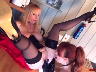 Busty British MILF Red wants pussy for dinner
