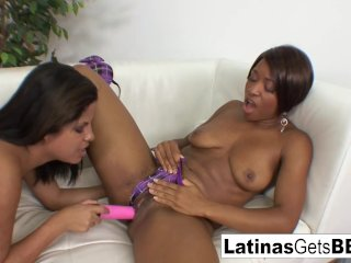 Interracial lesbian strap-on love with Jasmine and Imani