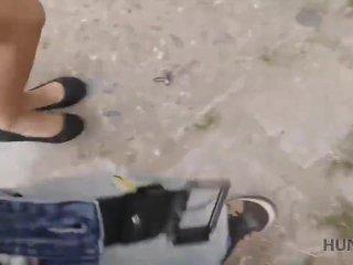 HUNT4K. Hottie engana a su novio por algo de dinero en el parque