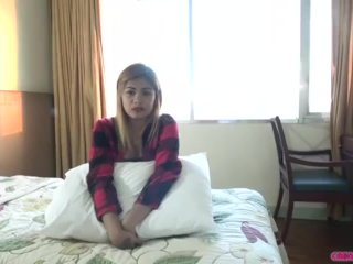Blonde Asian babe creampied