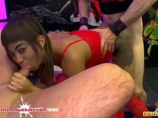 Black Babe Mimi gets her mouth full of cum – Extreme Bukkake