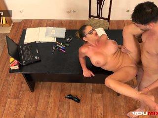 YOUMIXPORN Interactive – Busty Teacher Cathy Heaven fucks horny student