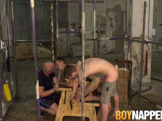 Tied up twink jerked off by master and blown by sub