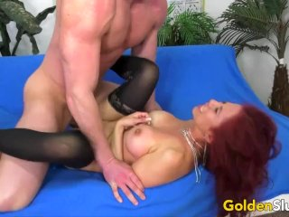 Mature Claudia Fox Pounded by a Young Man and Rubs Her Clit till Squirting