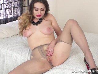 Sexy big tits babe Gabriella Knight has ripped nylon pantyhose pussy play