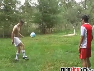 Young Euro soccer players lick ass before anal pounding