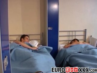 Euro dudes sucking dick and fucking asshole in a threeway