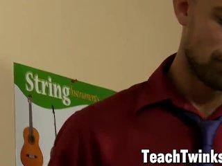 Slender twink Billy London anal slammed by older teacher