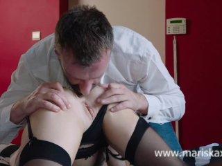 MARISKAX Busty blonde Rachelle takes a cock up her ass