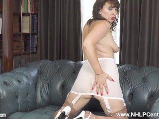Brunette Milf in open vintage girdle sheer nylons legs open for pussy play