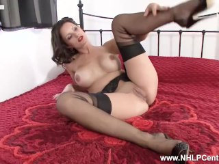 'Young big tits MILF Valentina Cruz fingers dildos wet juicy pussy in nylons'