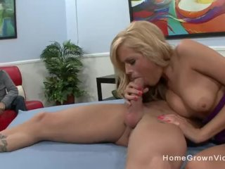Sexy blonde gets dicked down in front of her husband