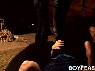 Four young men sucking dicks and anal drilling balls deep