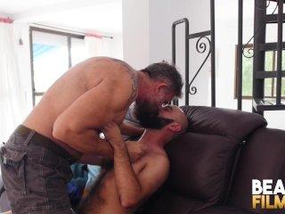 BEARFILMS Daddy Alfer Cuero Fucks Young Cub After Blowjob