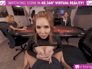VR BANGERS Curvy Lena Paul bouncing on cock in casino