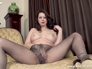 Big tits Milf Karina Currie fucks big cock toy in slinky nylon pantyhose