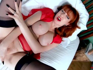 Busty MILF Red XXX is all alone and horny