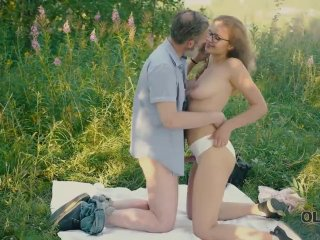 OLD4K. Beautiful redhead with glasses rides old dick in the woods