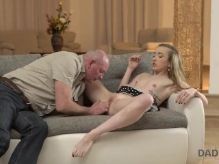 DADDY4K. Fat bald senior receives blowjob from outstanding model
