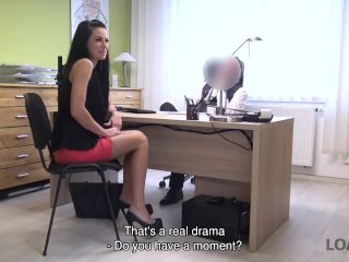 LOAN4K. Adorable Russian girl rides dick of loan agent in his office