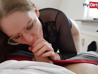 MyDirtyHobby – Nerdy babe swallows for the first time POV