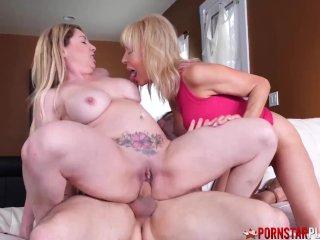 PORNSTARPLATINUM Inked Pussy Kiki Daire Shares Young Cock 3way