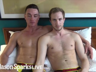 Blond stud jerks off while Cade Maddox pounds him