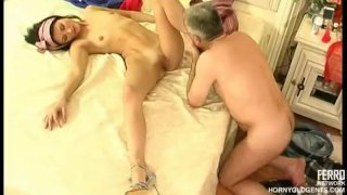 Old dick fucks young Russian babe