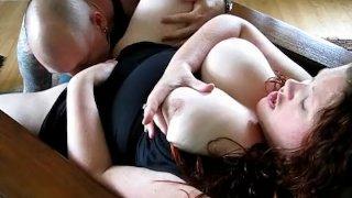 Chubby woman enjoys home sex