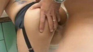 Round-butt hottie fucked from behind