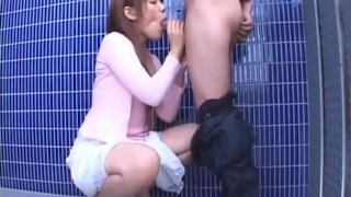 Horny Asian babe gets her face stuffed by dick