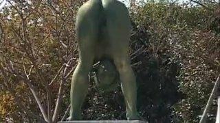 Crazy Japanese bronze statue