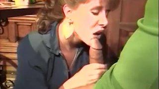 Eating guy's pecker under table