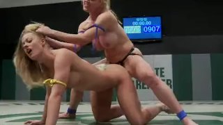 Big breasted babes wrestle
