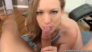 Curvy MILF Vicky Vixen sucks young cock