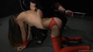 Redhead twat spanked hard