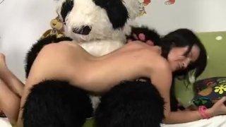 Sexy chick fucks with big plush bear