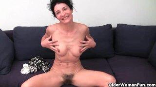 Granny has a wet spot in her panties