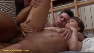Slippery massage babe fucked and given some c