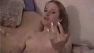 Sexy girl satisfies her pussy with big dildo