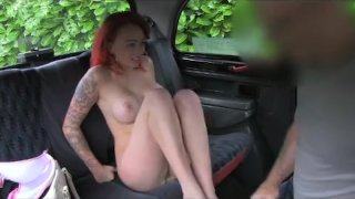 FakeTaxi - Red head takes on old cock