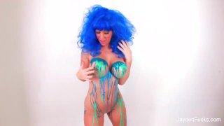 Jayden Jaymes with blue latex