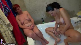 Old threesome with toys, young Girl, man and