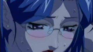 Office girl squeezes cock between anime boobs